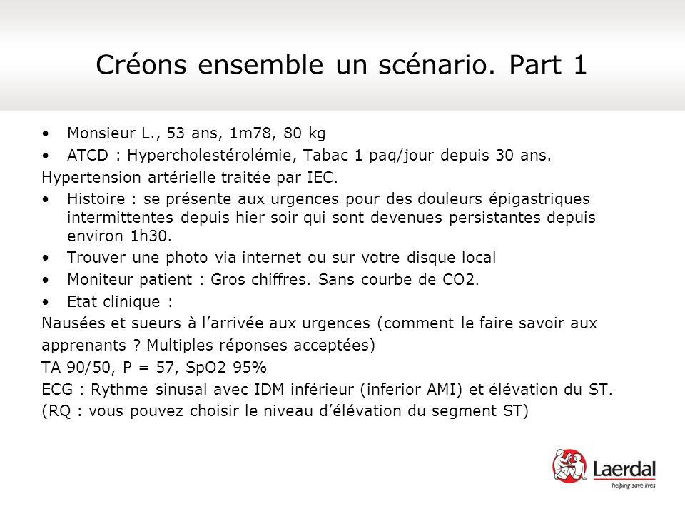Créons ensemble un scénario. Part 1 Monsieur L., 53 ans, 1m78, 80 kg ATCD : Hypercholestérolémie, Tabac 1 paq/jour depuis 30 ans. Hypertension artérie