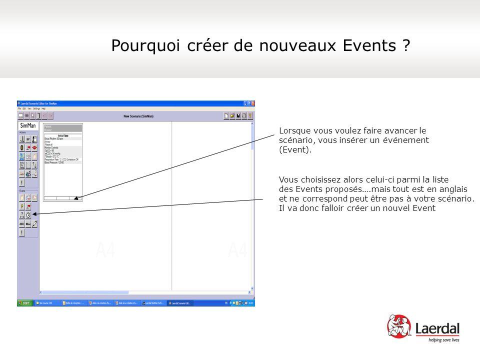 Lorsque vous voulez faire avancer le scénario, vous insérer un événement (Event). Vous choisissez alors celui-ci parmi la liste des Events proposés….m