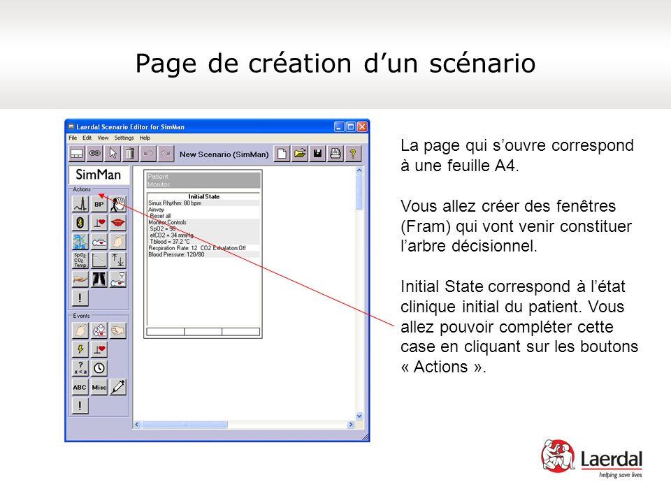 Page de création dun scénario La page qui souvre correspond à une feuille A4. Vous allez créer des fenêtres (Fram) qui vont venir constituer larbre dé