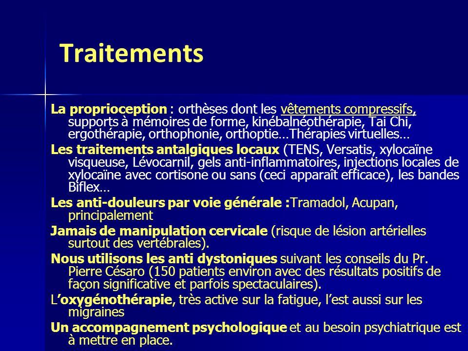 Traitements La proprioception : orthèses dont les vêtements compressifs, supports à mémoires de forme, kinébalnéothérapie, Tai Chi, ergothérapie, orth