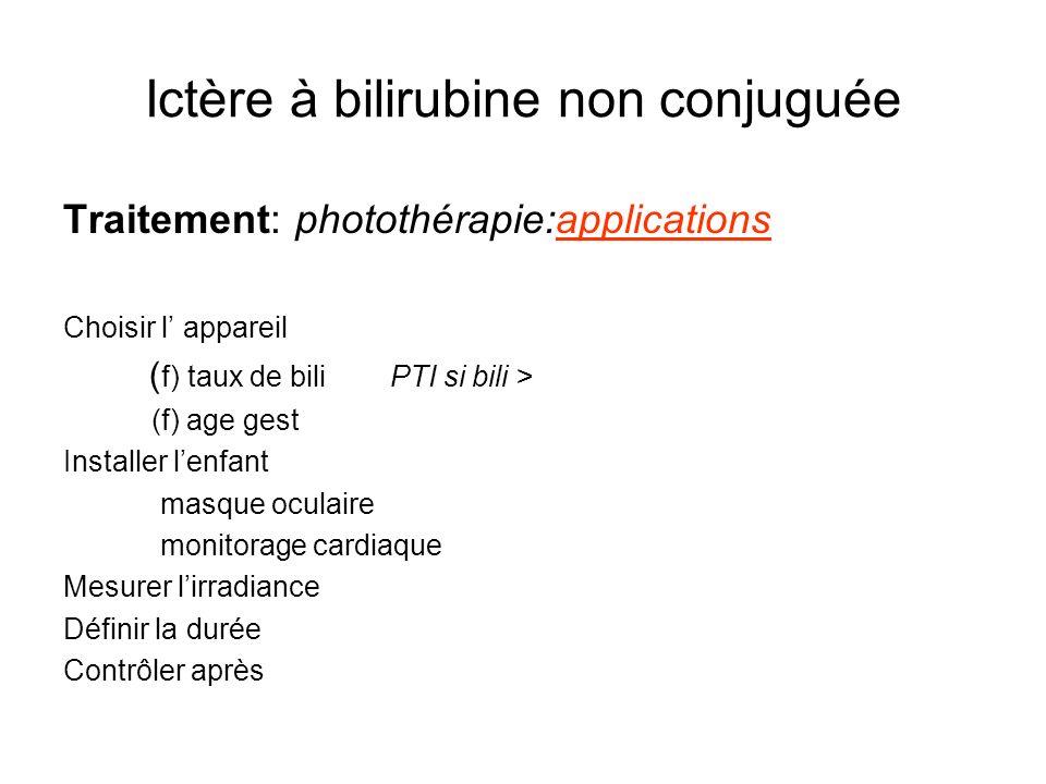 Ictère à bilirubine non conjuguée Traitement: photothérapie:applications Choisir l appareil ( f) taux de bili PTI si bili > (f) age gest Installer len