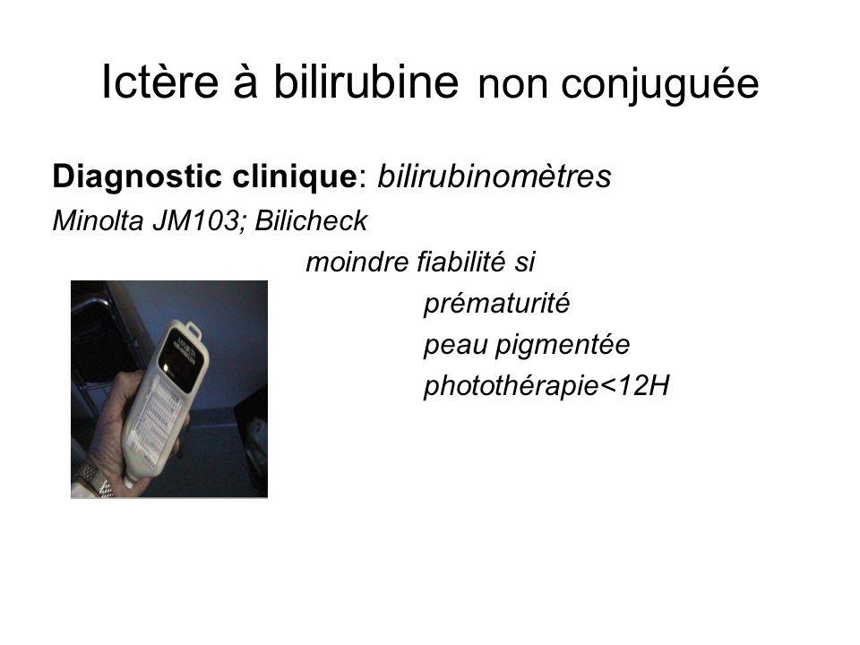 Ictère à bilirubine non conjuguée Diagnostic clinique: bilirubinomètres Minolta JM103; Bilicheck moindre fiabilité si prématurité peau pigmentée photo