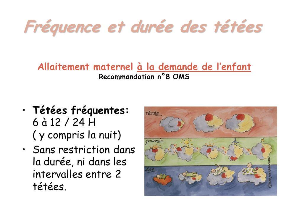 Fréquence et durée des tétées Tétées fréquentes: 6 à 12 / 24 H ( y compris la nuit) Sans restriction dans la durée, ni dans les intervalles entre 2 té