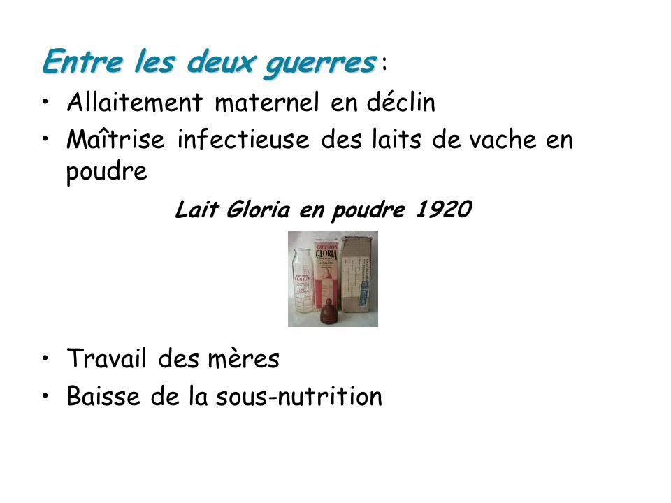Entre les deux guerres Entre les deux guerres : Allaitement maternel en déclin Maîtrise infectieuse des laits de vache en poudre Lait Gloria en poudre 1920 Travail des mères Baisse de la sous-nutrition