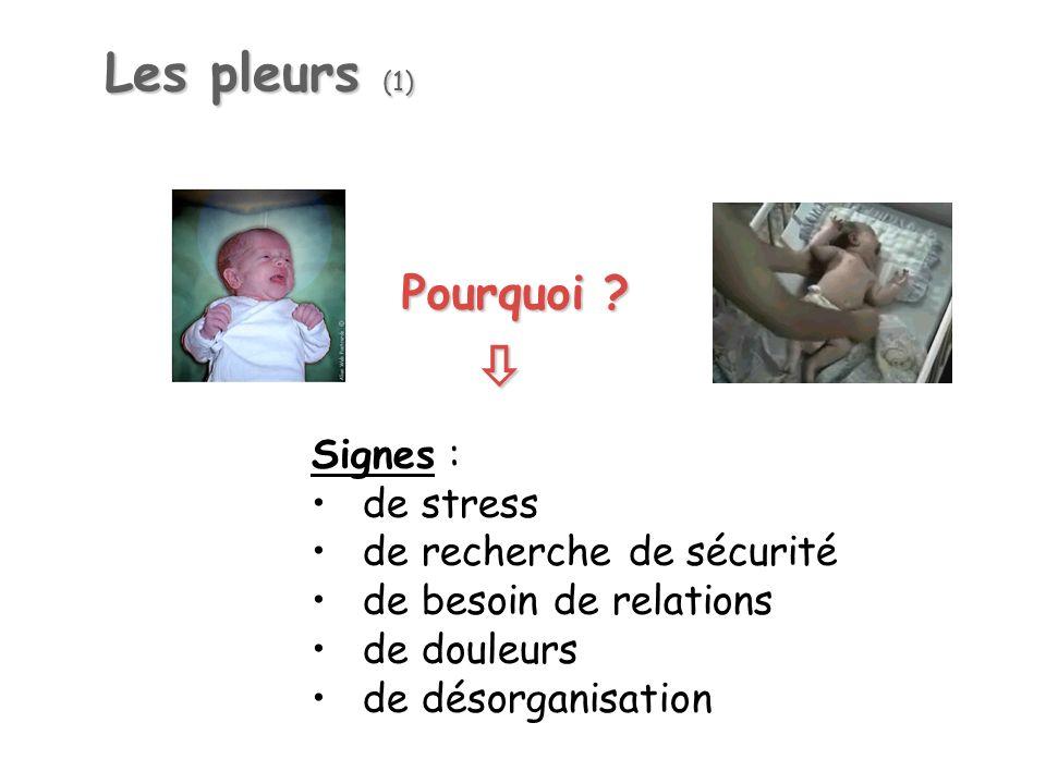 Les pleurs (1) Signes : de stress de recherche de sécurité de besoin de relations de douleurs de désorganisation Pourquoi ?