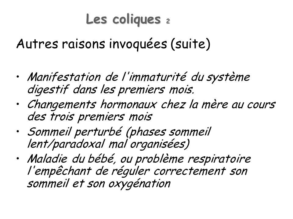 Les coliques 2 Autres raisons invoquées (suite) Manifestation de l'immaturité du système digestif dans les premiers mois. Changements hormonaux chez l