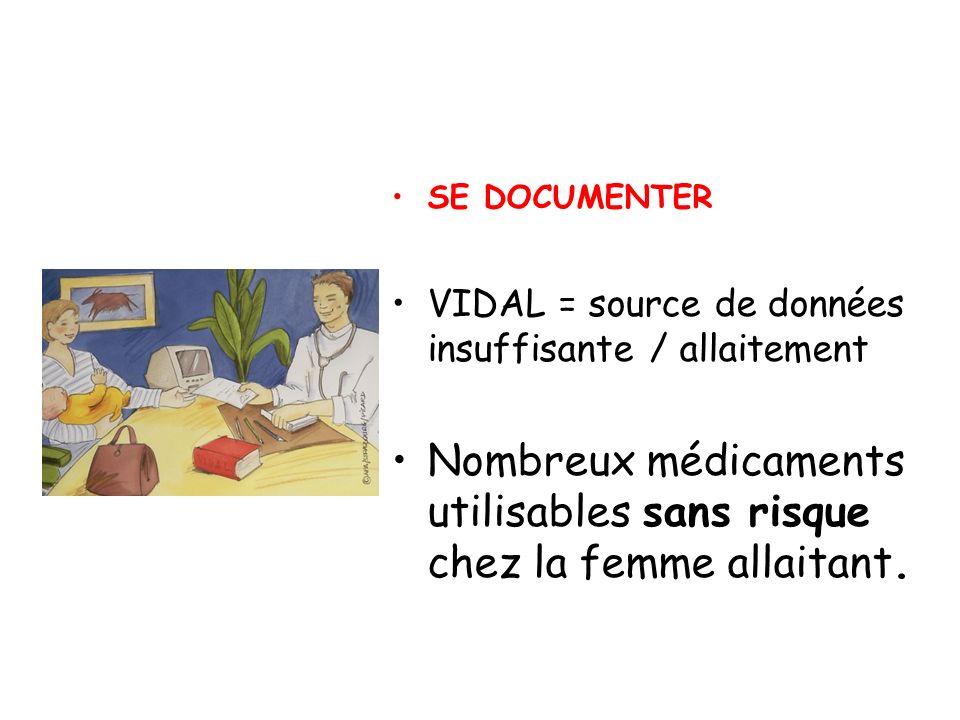 SE DOCUMENTER VIDAL = source de données insuffisante / allaitement Nombreux médicaments utilisables sans risque chez la femme allaitant.