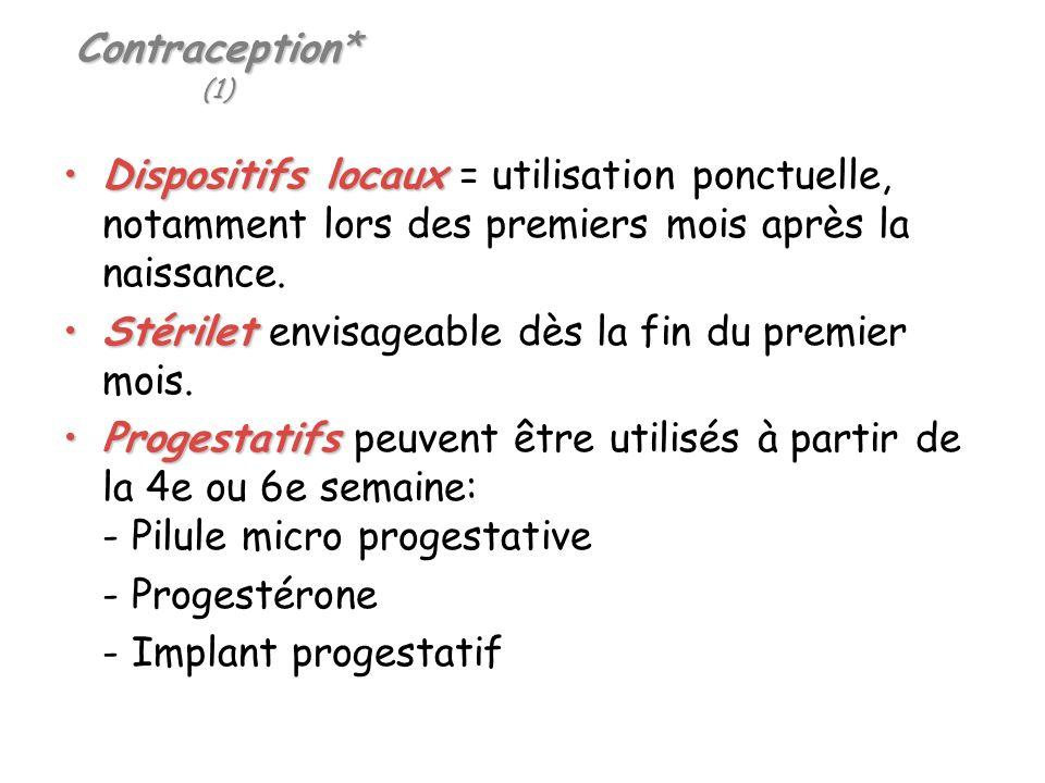 Contraception* (1) Dispositifs locauxDispositifs locaux = utilisation ponctuelle, notamment lors des premiers mois après la naissance. StériletStérile
