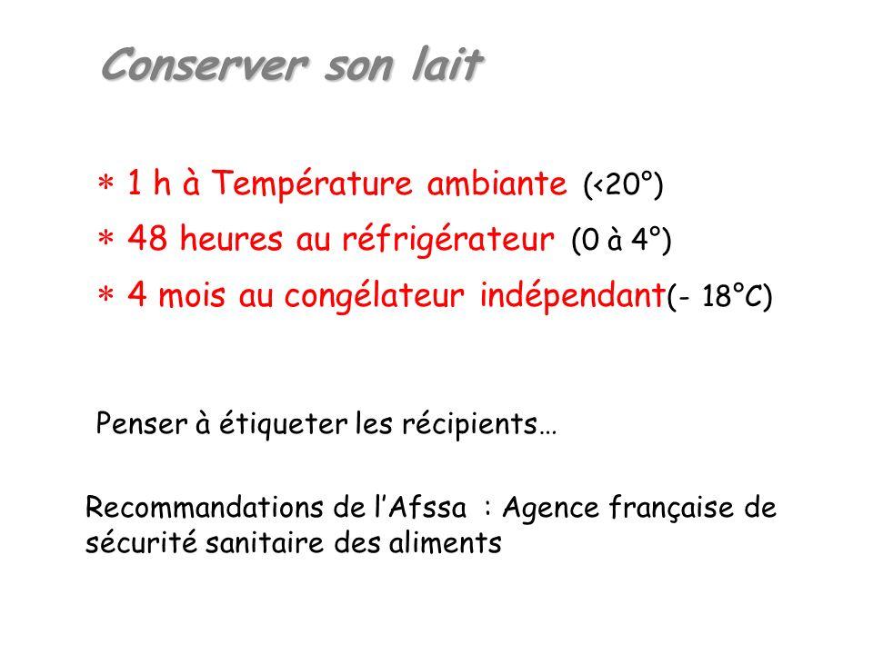 Conserver son lait 1 h à Température ambiante (<20°) 48 heures au réfrigérateur (0 à 4°) 4 mois au congélateur indépendant (- 18°C) Penser à étiqueter les récipients… Recommandations de lAfssa : Agence française de sécurité sanitaire des aliments