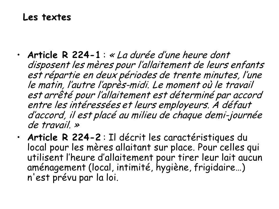 Les textes Article R 224-1 : « La durée dune heure dont disposent les mères pour lallaitement de leurs enfants est répartie en deux périodes de trente