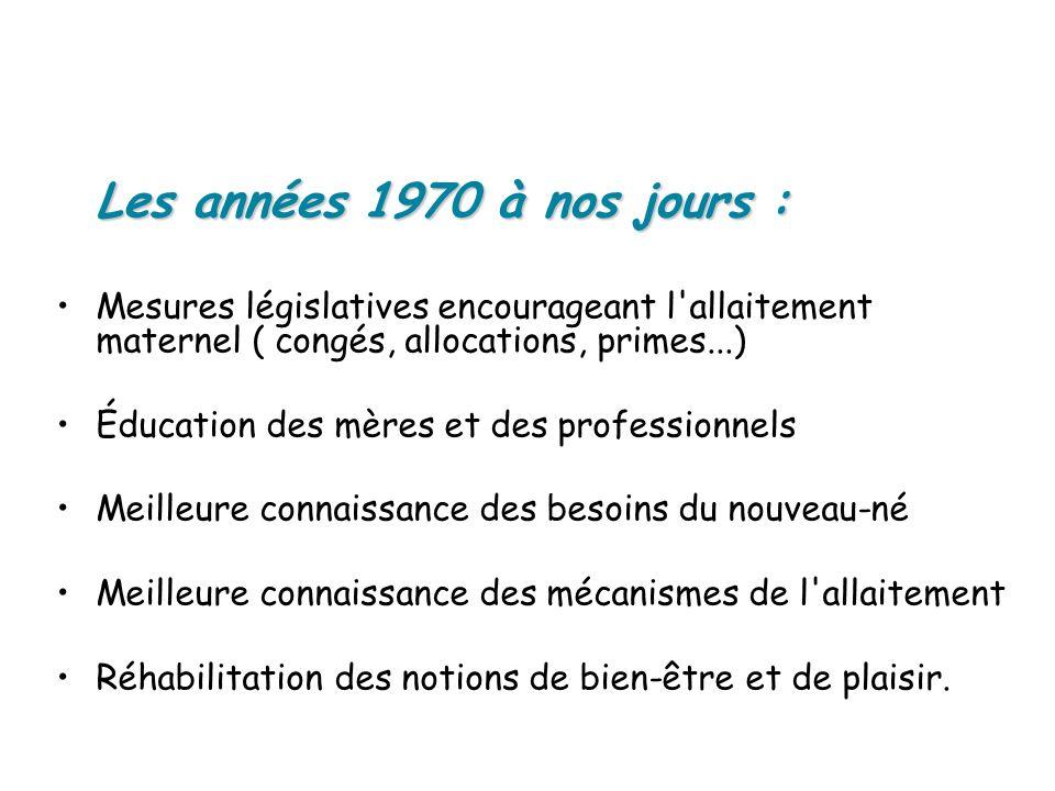 Les années 1970 à nos jours : Mesures législatives encourageant l'allaitement maternel ( congés, allocations, primes...) Éducation des mères et des pr