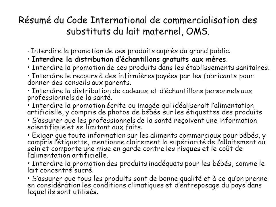 Résumé du Code International de commercialisation des substituts du lait maternel, OMS. Interdire la promotion de ces produits auprès du grand public.