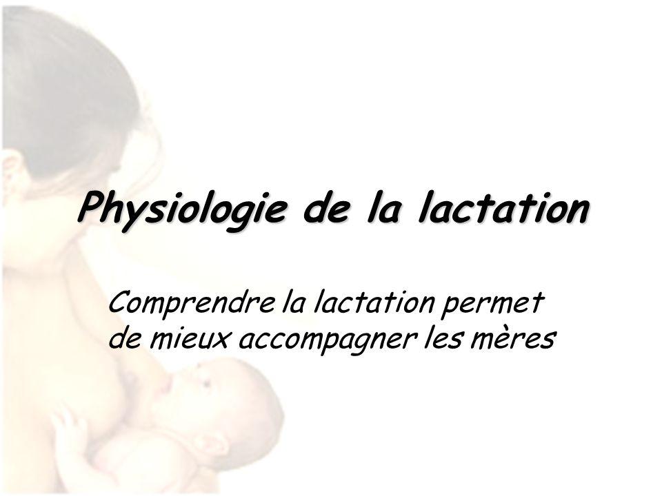 Physiologie de la lactation Comprendre la lactation permet de mieux accompagner les mères