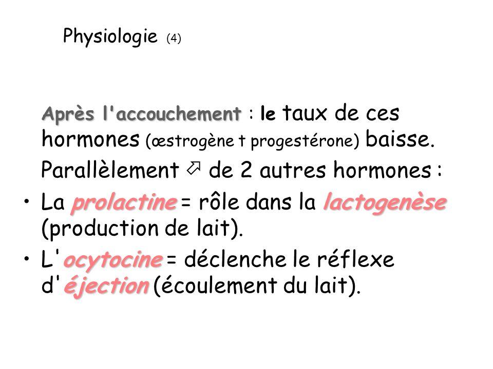 Physiologie (4) Après l'accouchement Après l'accouchement : le taux de ces hormones (œstrogène t progestérone) baisse. Parallèlement de 2 autres hormo