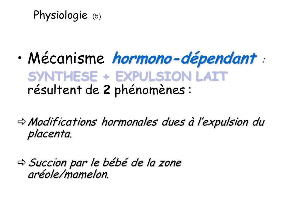 Physiologie (5) hormono-dépendant :Mécanisme hormono-dépendant : SYNTHESE+ EXPULSION LAIT SYNTHESE + EXPULSION LAIT résultent de 2 phénomènes : Modifications hormonales dues à lexpulsion du placenta.