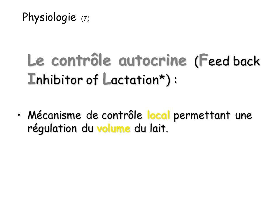 Physiologie (7) Le contrôle autocrine ( F eed back I nhibitor of L actation*) : Mécanisme de contrôle local permettant une régulation du volume du lait.Mécanisme de contrôle local permettant une régulation du volume du lait.