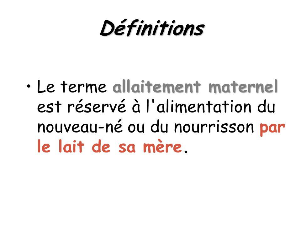 Définitions allaitement maternelLe terme allaitement maternel est réservé à l'alimentation du nouveau-né ou du nourrisson par le lait de sa mère.