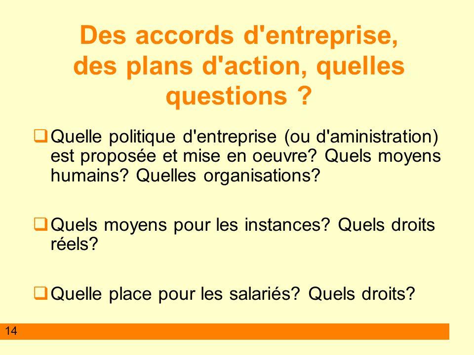 14 Des accords d entreprise, des plans d action, quelles questions .