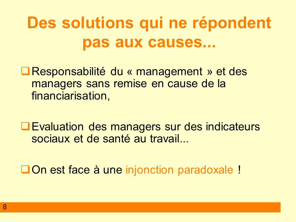 8 Responsabilité du « management » et des managers sans remise en cause de la financiarisation, Evaluation des managers sur des indicateurs sociaux et de santé au travail...