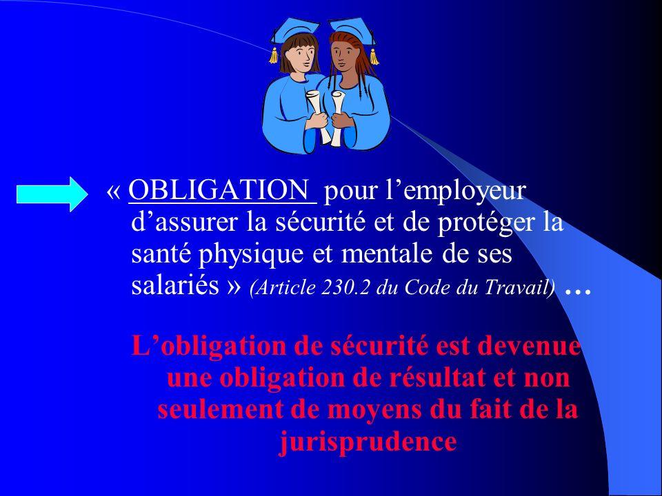 RAPPELER … … La Responsabilité de lEmployeur et lObligation de résultat découlant de la Jurisprudence …