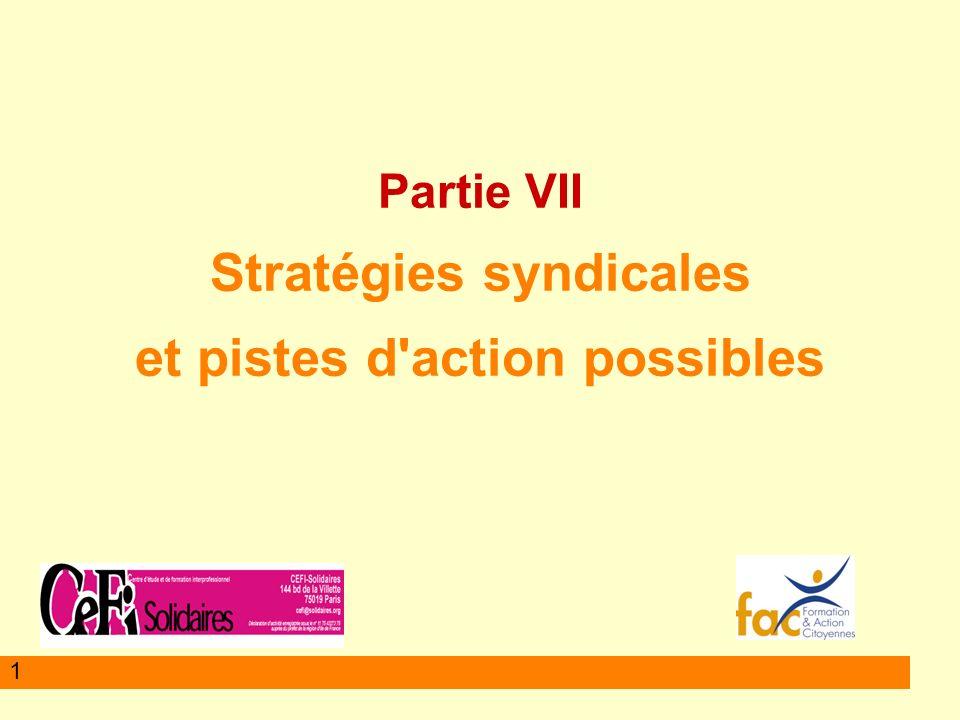 1 Partie VII Stratégies syndicales et pistes d action possibles