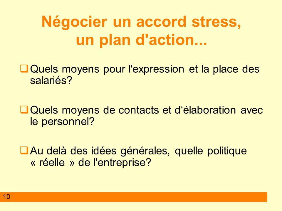 10 Négocier un accord stress, un plan d action...