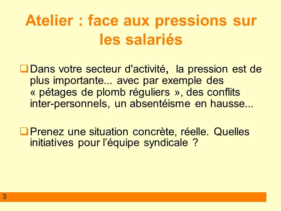 3 Atelier : face aux pressions sur les salariés Dans votre secteur d activité, la pression est de plus importante...