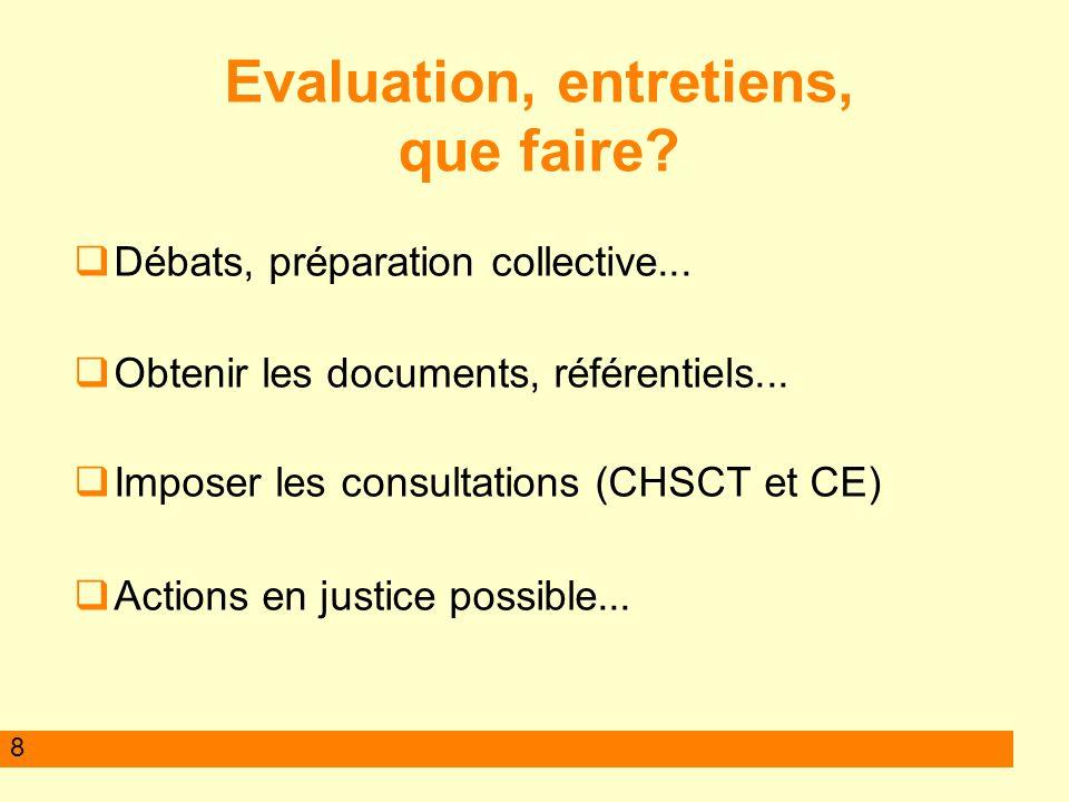 8 Evaluation, entretiens, que faire.Débats, préparation collective...