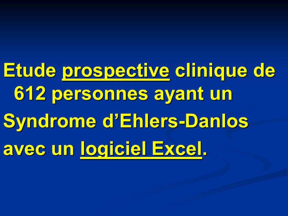 Etude prospective clinique de 612 personnes ayant un Syndrome dEhlers-Danlos avec un logiciel Excel.