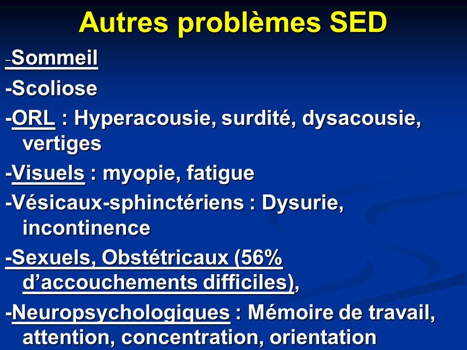 Autres problèmes SED - Sommeil -Scoliose -ORL : Hyperacousie, surdité, dysacousie, vertiges -Visuels : myopie, fatigue -Vésicaux-sphinctériens : Dysur