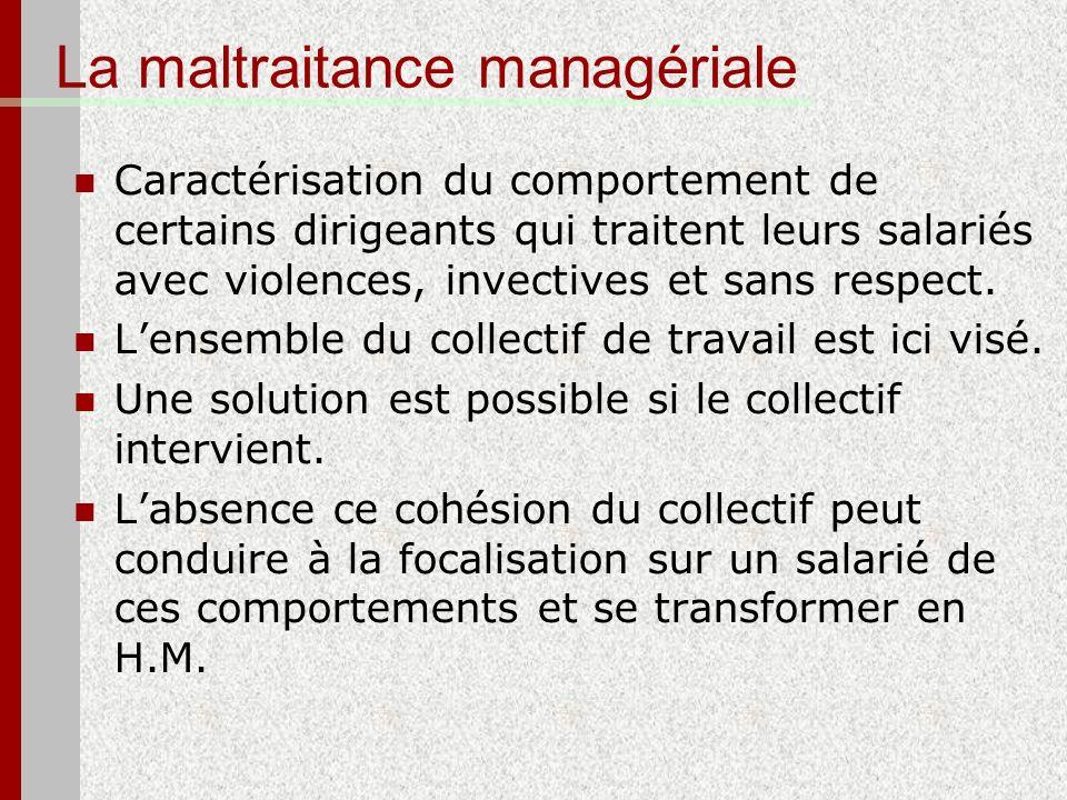 La maltraitance managériale Caractérisation du comportement de certains dirigeants qui traitent leurs salariés avec violences, invectives et sans resp