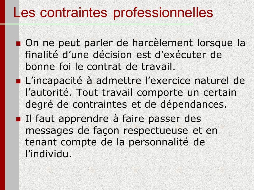 Les contraintes professionnelles On ne peut parler de harcèlement lorsque la finalité dune décision est dexécuter de bonne foi le contrat de travail.