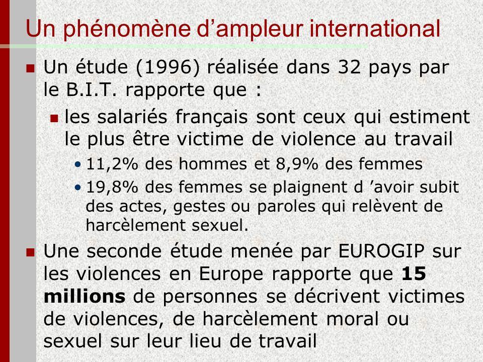 Un phénomène dampleur international Un étude (1996) réalisée dans 32 pays par le B.I.T. rapporte que : les salariés français sont ceux qui estiment le