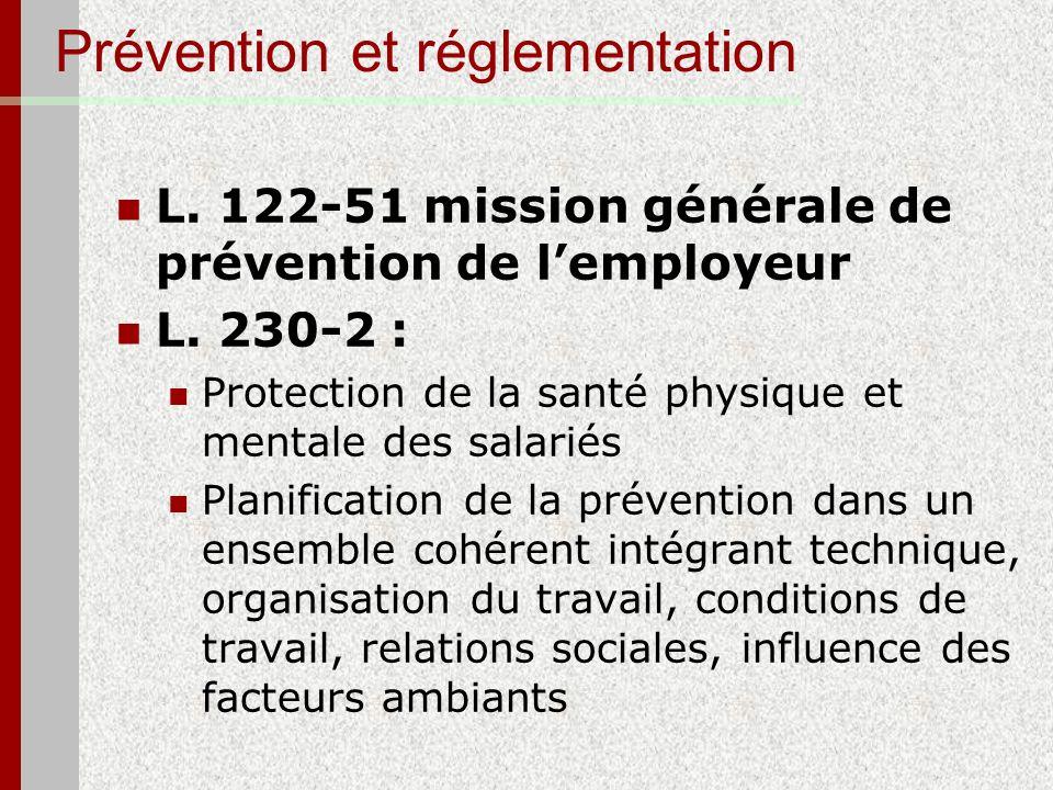 Prévention et réglementation L. 122-51 mission générale de prévention de lemployeur L. 230-2 : Protection de la santé physique et mentale des salariés