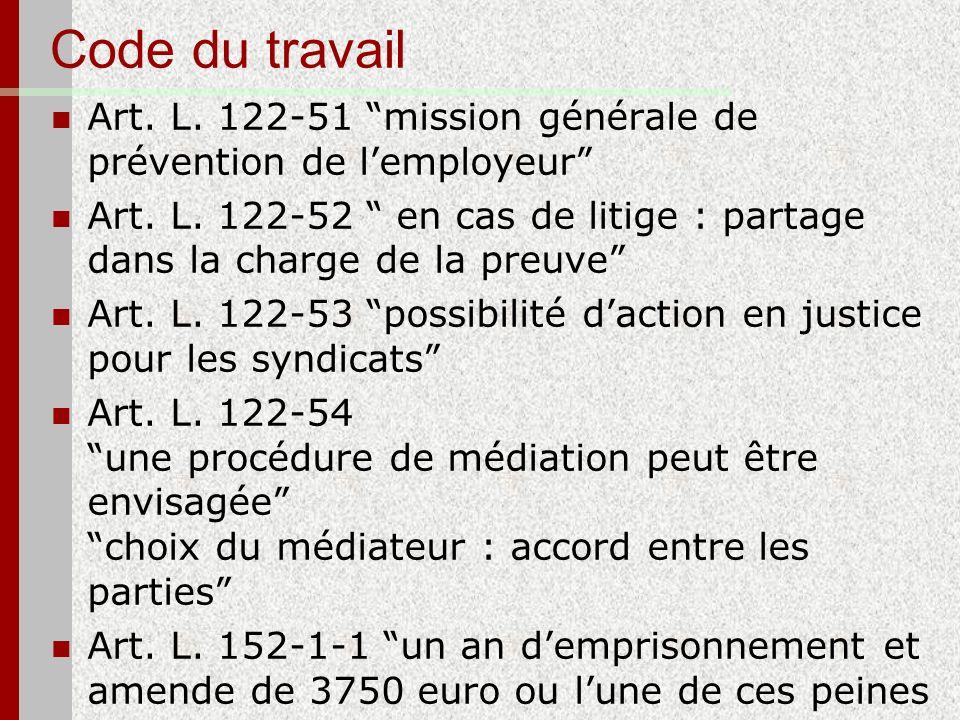 Code du travail Art. L. 122-51 mission générale de prévention de lemployeur Art. L. 122-52 en cas de litige : partage dans la charge de la preuve Art.