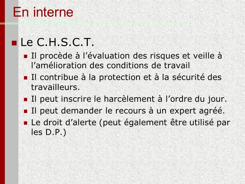 En interne Le C.H.S.C.T. Il procède à lévaluation des risques et veille à lamélioration des conditions de travail Il contribue à la protection et à la