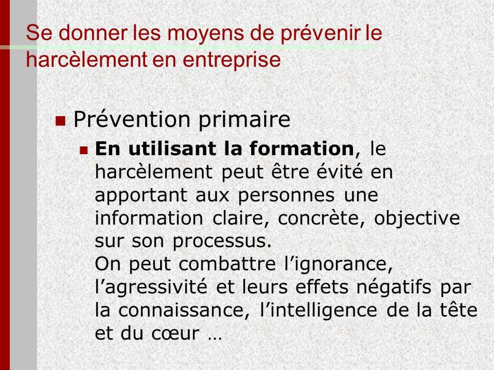 Se donner les moyens de prévenir le harcèlement en entreprise Prévention primaire En utilisant la formation, le harcèlement peut être évité en apporta