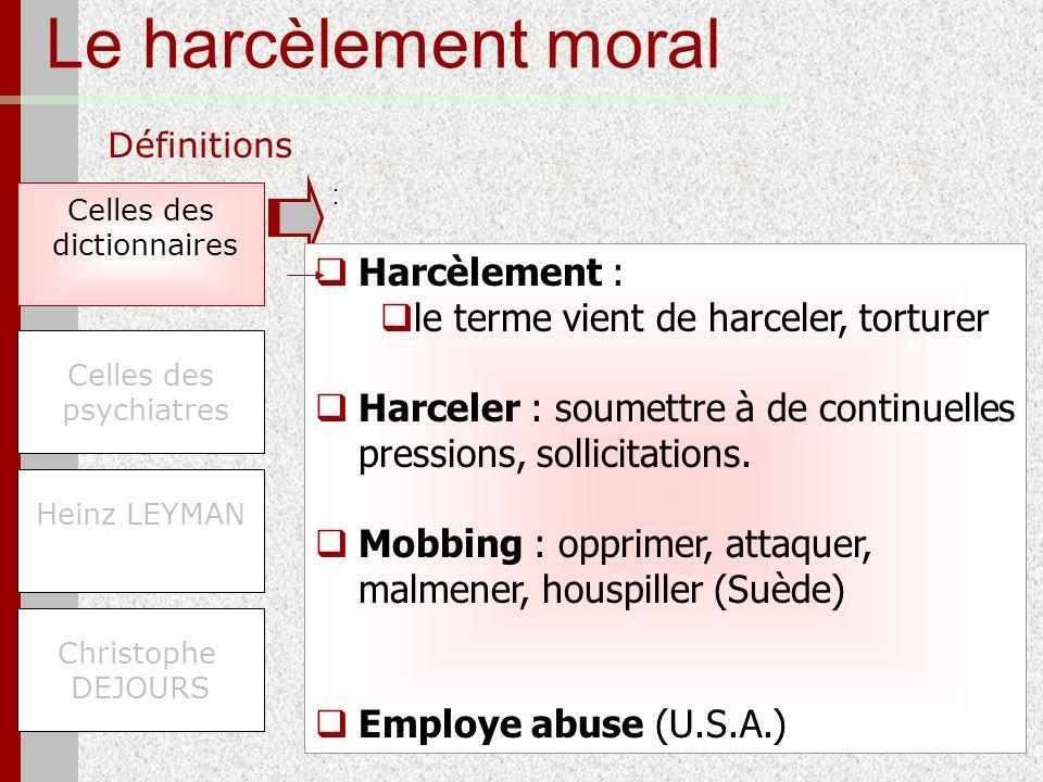 Le harcèlement moral Définitions Celles des dictionnaires Christophe DEJOURS Celles des psychiatres Heinz LEYMAN Harcèlement : le terme vient de harce