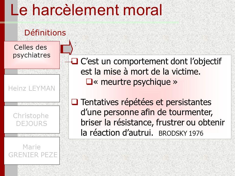 Le harcèlement moral Définitions Celles des psychiatres Marie GRENIER PEZE Heinz LEYMAN Christophe DEJOURS Cest un comportement dont lobjectif est la
