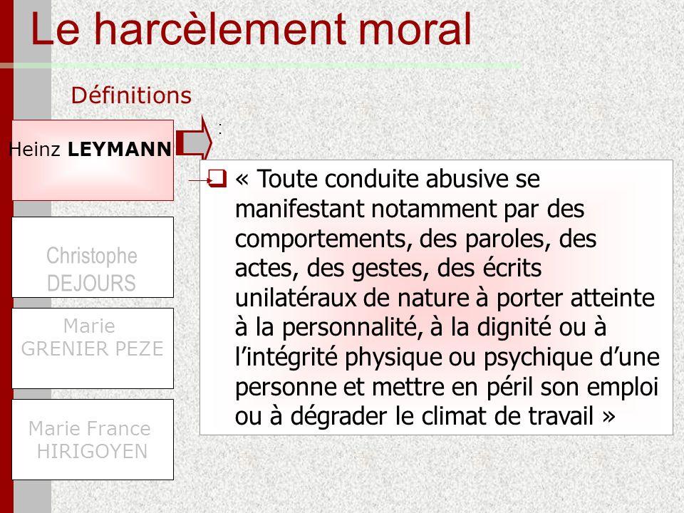 Le harcèlement moral Définitions Heinz LEYMANN Marie France HIRIGOYEN Christophe DEJOURS Marie GRENIER PEZE « Toute conduite abusive se manifestant no