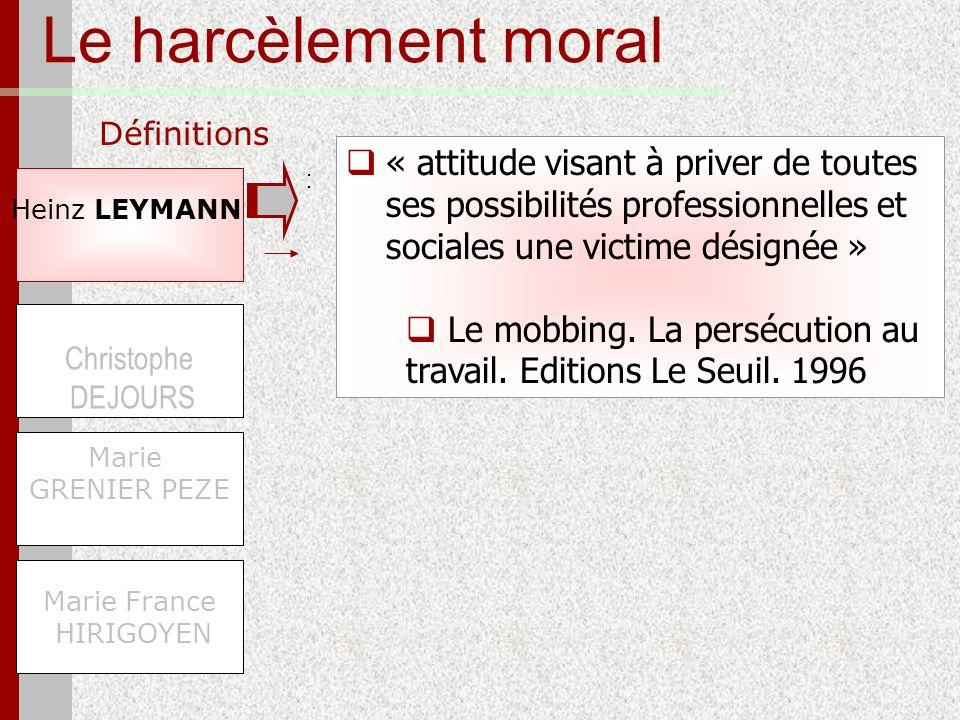 Le harcèlement moral Définitions Heinz LEYMANN Marie France HIRIGOYEN Christophe DEJOURS Marie GRENIER PEZE « attitude visant à priver de toutes ses p