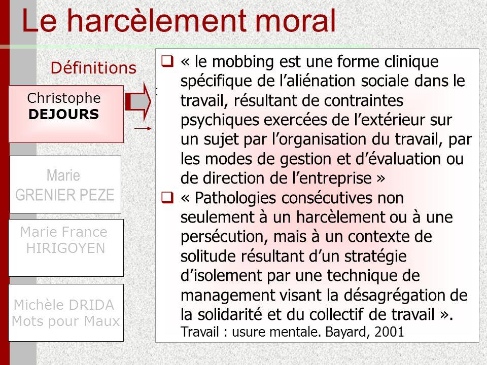 Le harcèlement moral Définitions Christophe DEJOURS Michèle DRIDA Mots pour Maux Marie GRENIER PEZE Marie France HIRIGOYEN « le mobbing est une forme