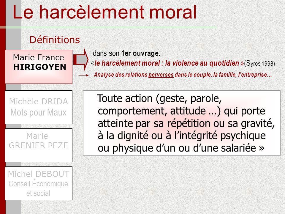 Le harcèlement moral Définitions Marie France HIRIGOYEN Michel DEBOUT Conseil Économique et social Michèle DRIDA Mots pour Maux Marie GRENIER PEZE Tou
