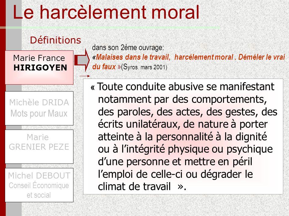 Le harcèlement moral Définitions Marie France HIRIGOYEN Michel DEBOUT Conseil Économique et social Michèle DRIDA Mots pour Maux Marie GRENIER PEZE « T