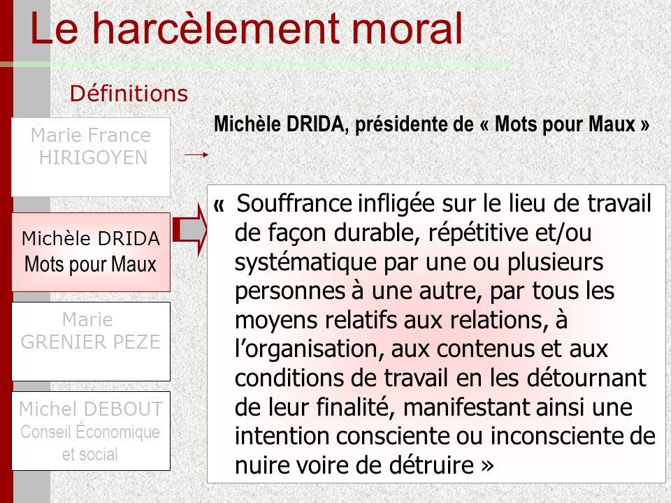 Le harcèlement moral Définitions Marie France HIRIGOYEN Michel DEBOUT Conseil Économique et social Michèle DRIDA Mots pour Maux Marie GRENIER PEZE « S
