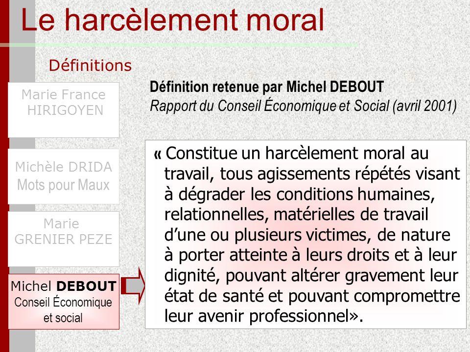 Le harcèlement moral Définitions Marie France HIRIGOYEN Michèle DRIDA Mots pour Maux Michel DEBOUT Conseil Économique et social Marie GRENIER PEZE « C