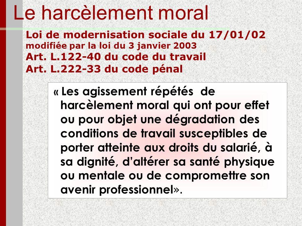 Le harcèlement moral Loi de modernisation sociale du 17/01/02 modifiée par la loi du 3 janvier 2003 Art. L.122-40 du code du travail Art. L.222-33 du