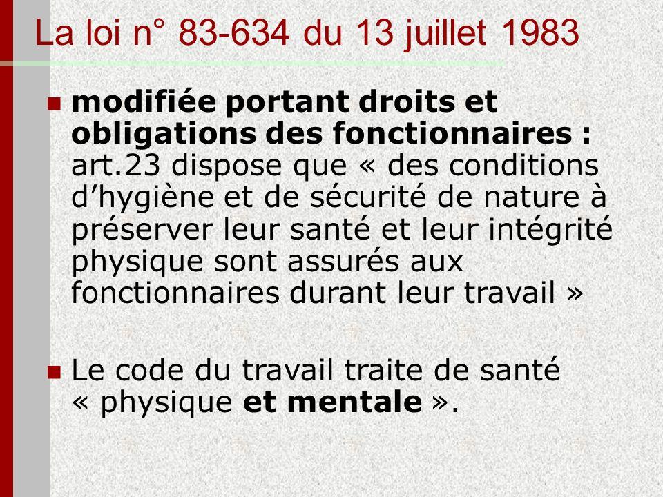 La loi n° 83-634 du 13 juillet 1983 modifiée portant droits et obligations des fonctionnaires : art.23 dispose que « des conditions dhygiène et de séc