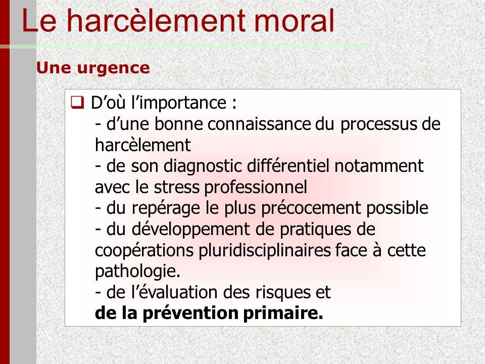 Le harcèlement moral Une urgence Doù limportance : - dune bonne connaissance du processus de harcèlement - de son diagnostic différentiel notamment av