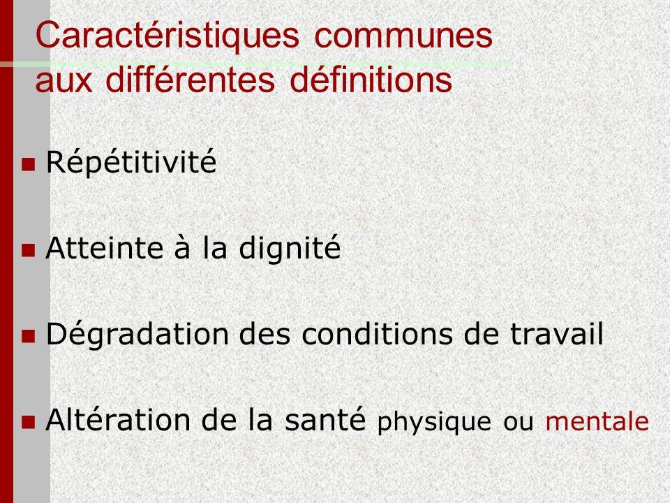 Caractéristiques communes aux différentes définitions Répétitivité Atteinte à la dignité Dégradation des conditions de travail Altération de la santé